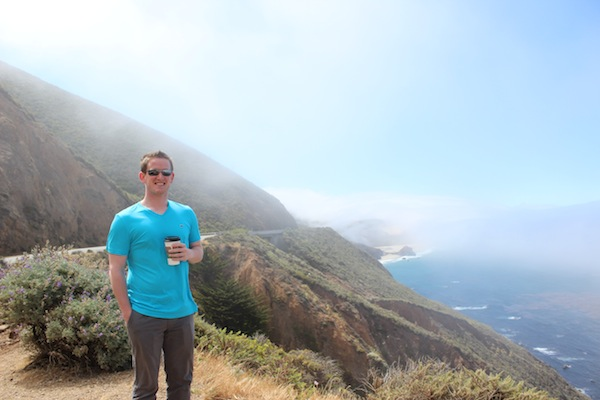 Tom sippin some coffee along the PCH