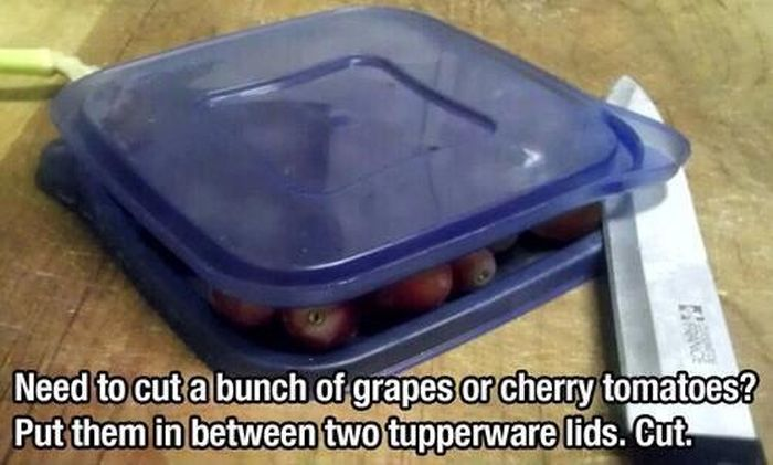 To cut small foods, place in between 2 tupperware lids.