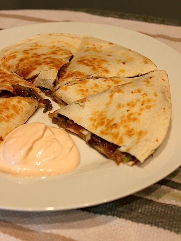 Vegetarian Brussels Sprout & Mushroom Quesadillas