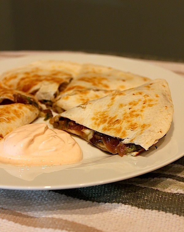 Brussels Sprouts, Mushroom, and Onion Quesadillas