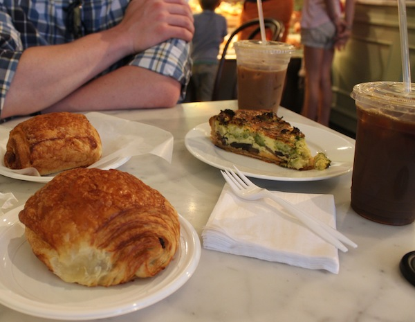 Pain au Chocolat and Quiche at Almondine