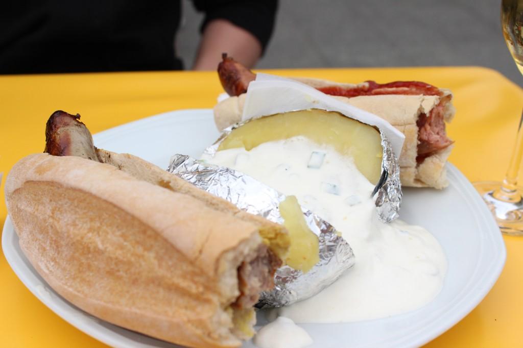 German sausages with a big baked potato