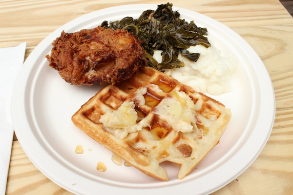 Breakfast at Taste Talks: Chicken, Waffles, Collard Greens, and Grits